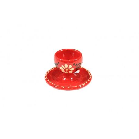 Coquetier - Rouge - Fleurs