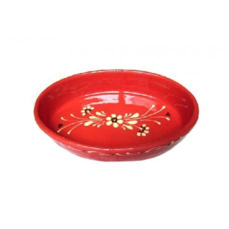 Plat Ovale - Rouge - Fleurs