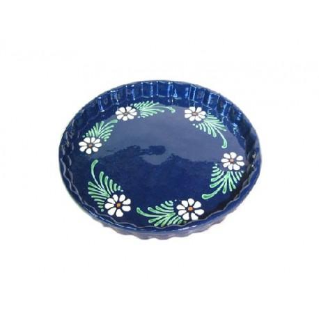 Plat à tourte / Plat à tarte - Bleu - Marguerite