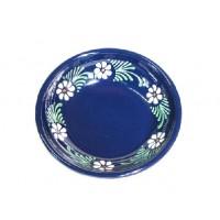 Plat rond - Bleu - Marguerite