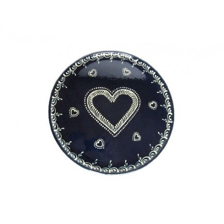 Plat pour service de la tarte - Bleu - Coeur