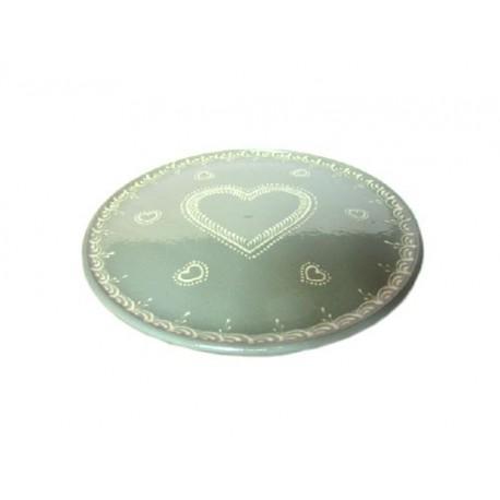 Plat pour service de la tarte - Gris Clair - Coeur