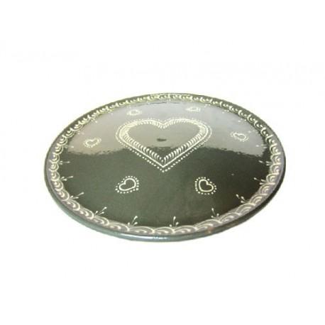 Plat pour service de la tarte - Gris Foncé - Coeur