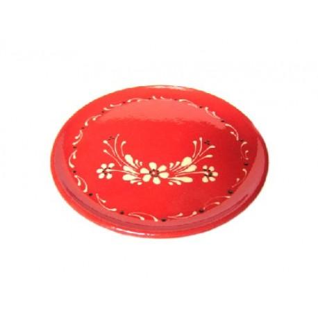 Plat pour service de la tarte - Rouge - Fleurs
