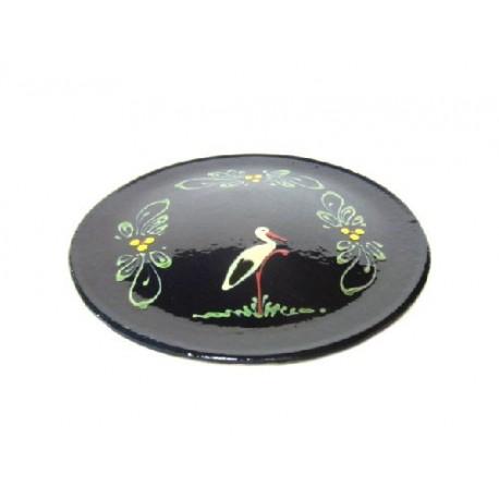 assiette plate en terre cuite bleu cigogne poterie d 39 alsace alsace tradition. Black Bedroom Furniture Sets. Home Design Ideas