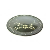 Assiette plate - Gris Foncé - Fleurs