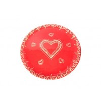 Assiette plate - Rouge - Coeur