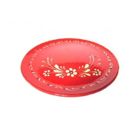 Assiette plate - Rouge - Fleurs