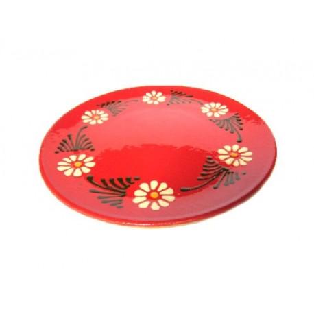 Assiette plate - Rouge - Marguerite