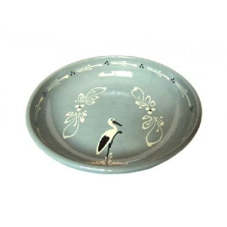 assiette creuse en terre cuite gris clair cigogne poterie d 39 alsace alsace tradition. Black Bedroom Furniture Sets. Home Design Ideas