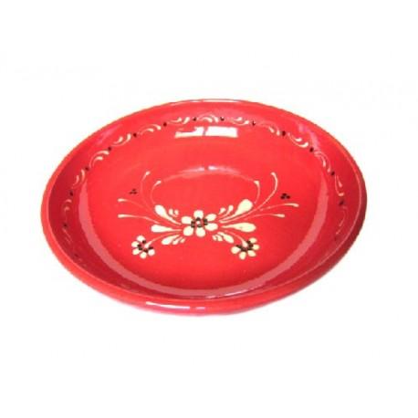 Assiette creuse - Rouge - Fleurs