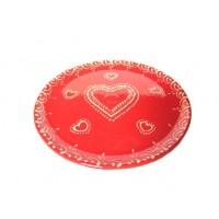 Assiette à dessert - Rouge - Coeur