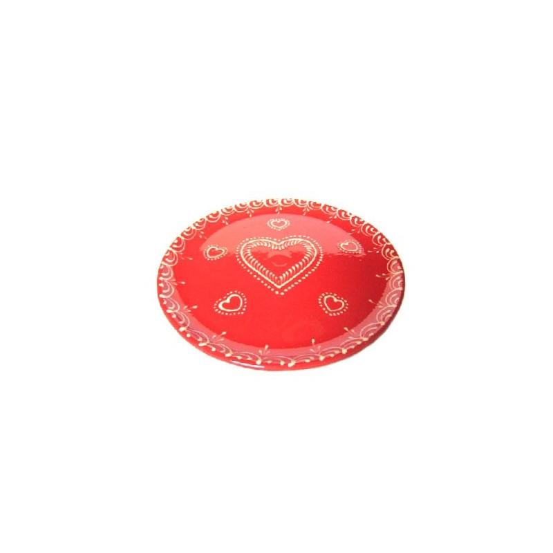 assiette dessert en terre cuite rouge coeur poterie alsacienne alsace tradition. Black Bedroom Furniture Sets. Home Design Ideas