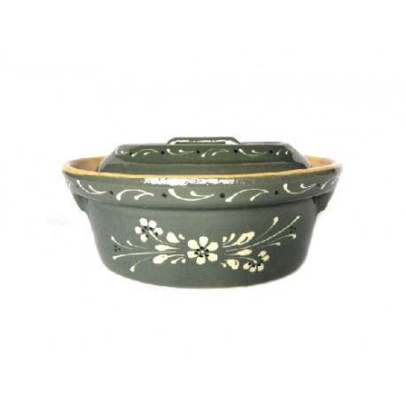 terrine alsacienne en terre cuite - gris foncé - motif fleur